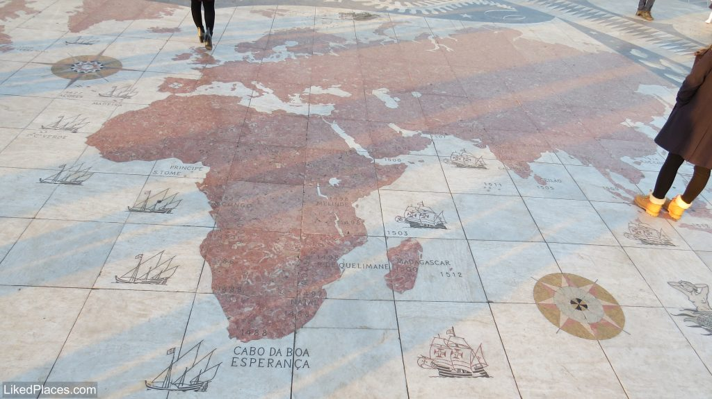 Lisbon Wind Rose World Map in front of the Belem Discovery Pattern
