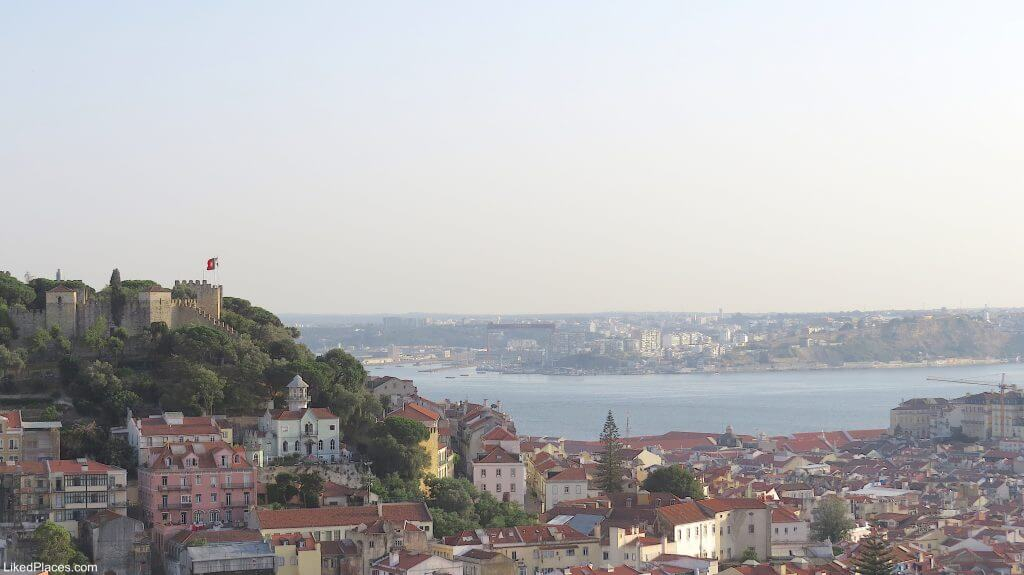 Lisbon View to São Jorge Castle, Baixa and Tagus River