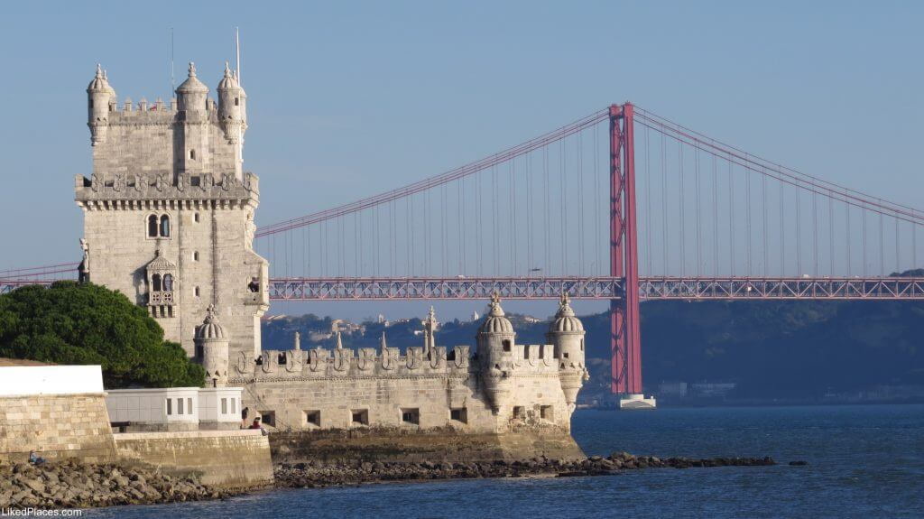 Lisbon Belém Tower, 25 de Abril Bridge and Tagus River