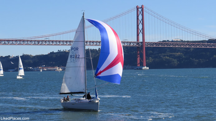 Lisbon Sailing Boat on Tagus River with Bridge April 25 ago