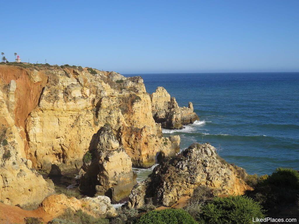Algarve View of the sea and cliff where Ponta da Piedade Lighthouse is located in Lagos