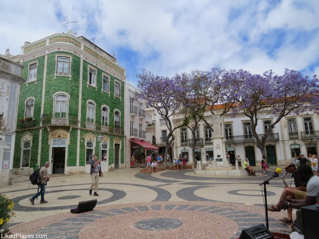 Lagos Luis de Camões square with green tiled building