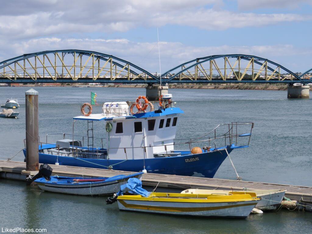 Algarve, Riverside with boats and bridges over Arade River, Portimão