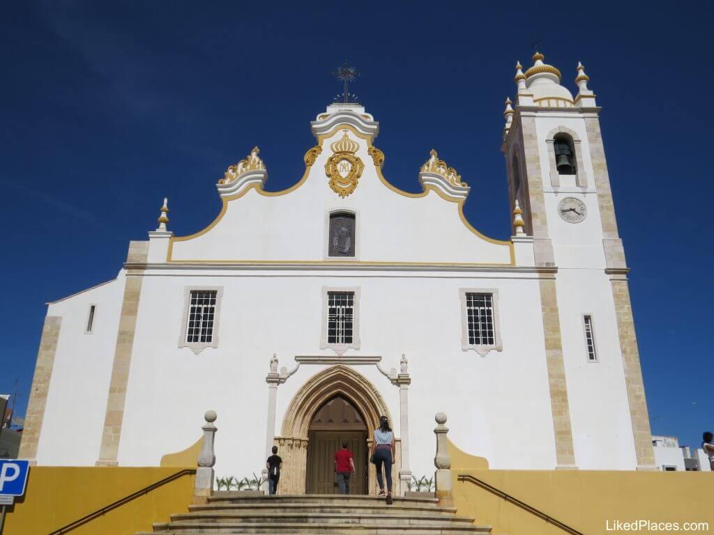 Nossa Senhora da Conceição Mother Church, Portimão with staircase and bell tower