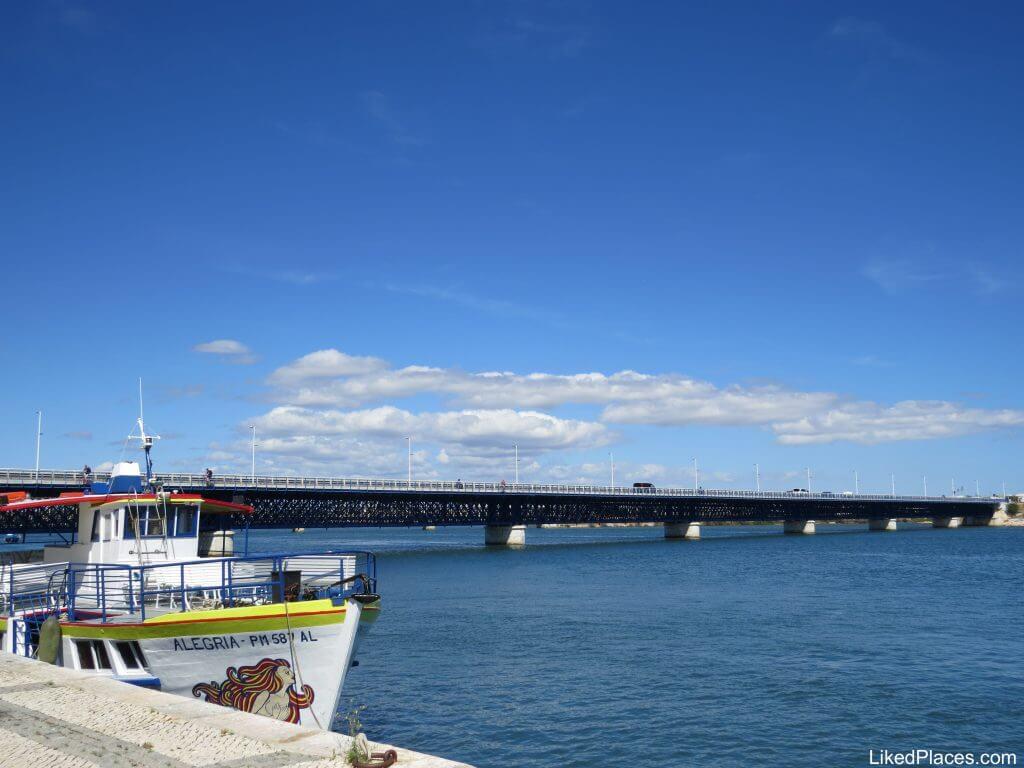 Algarve, Riverside with boat, Arade River and bridge, Portimão