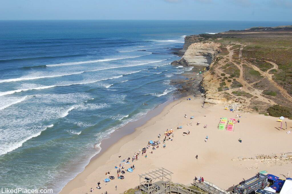 Top view of Ribeira d'Ilhas beach in Ericeira