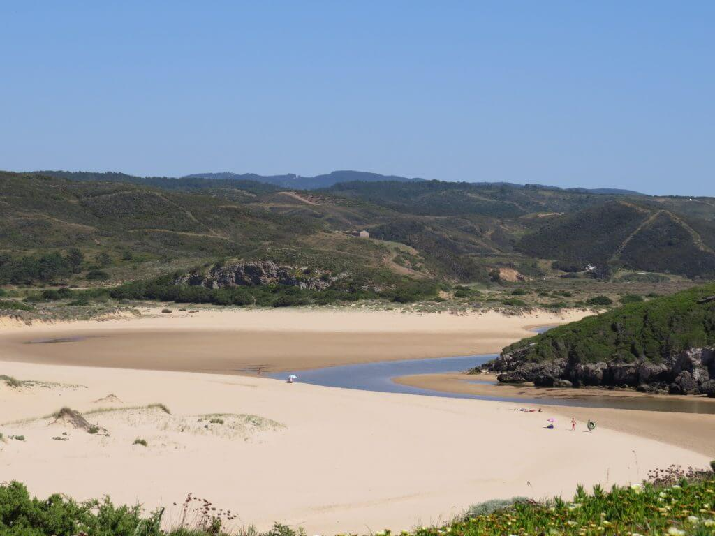 Ribeira de Aljezur meandering to the Atlantic Ocean