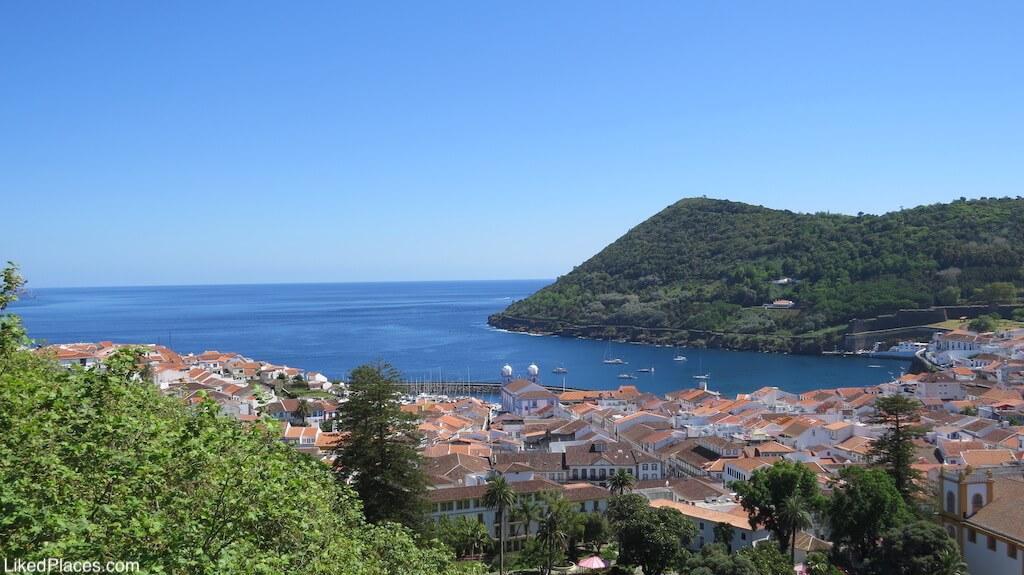 View of Angra do Heroismo and Monte Brasil from Alto da Memoria, Terceira Island