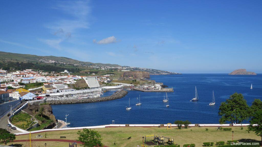 View from a viewpoint of Monte Brasil to Relvão e Baia Park, Angra do Heroismo, Terceira Island