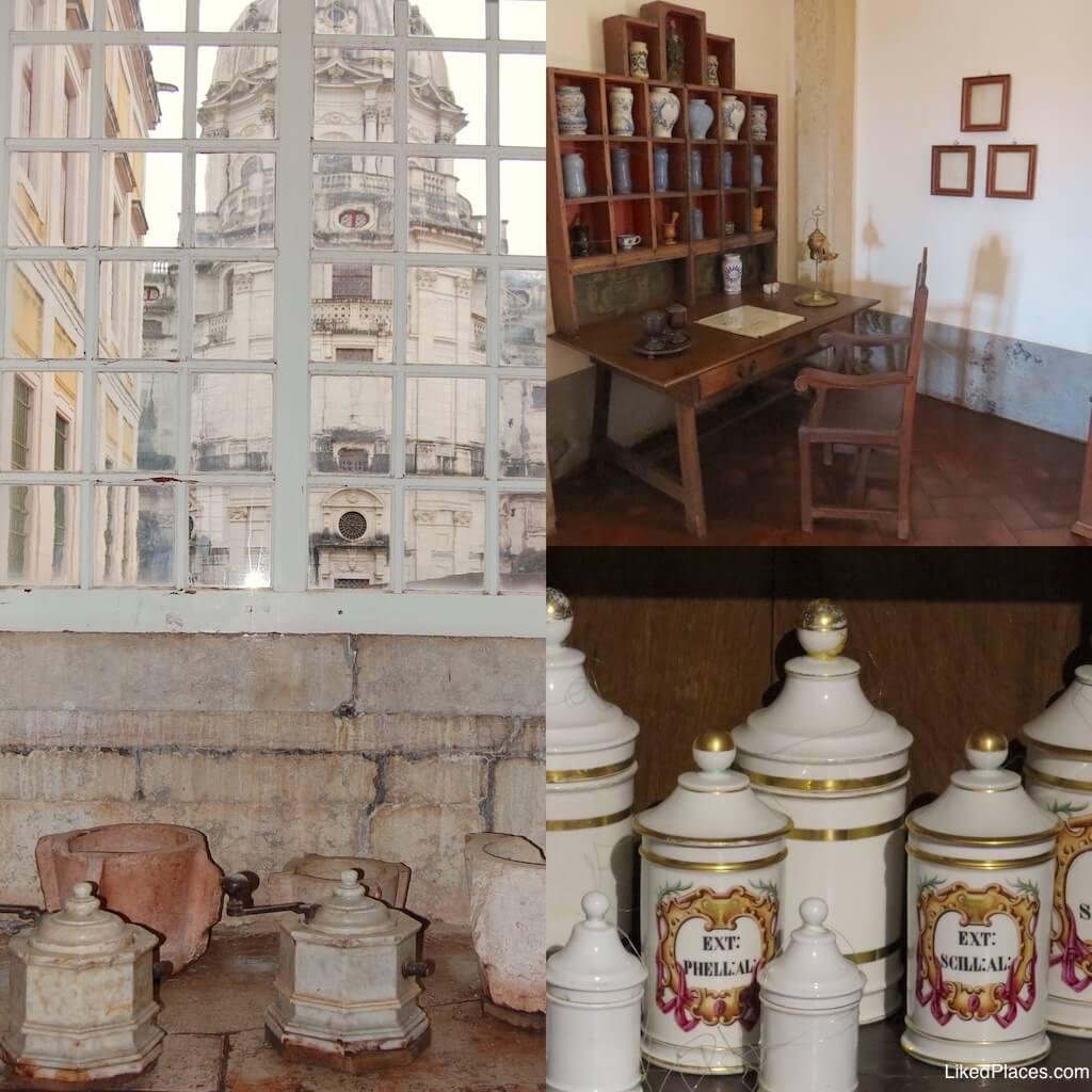 Palácio de Mafra, composição de 3 fotos da Botica do Convento