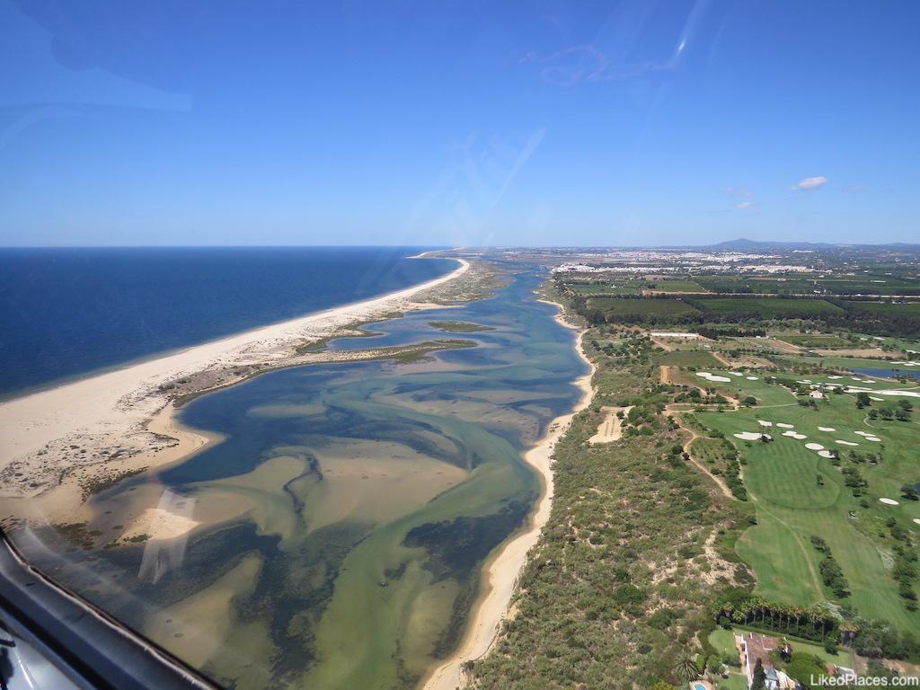 Vista aérea da Ria Formosa através de um gericóptero