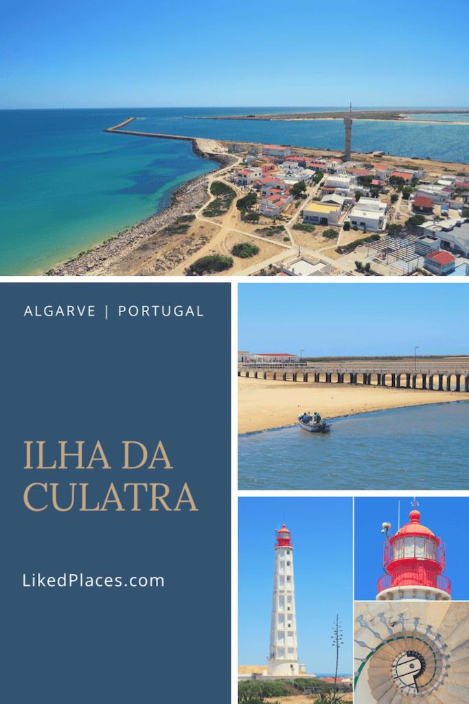 PIN Ilha da Culatra Algarve, Foto vista do Farol do Cabo de Santa Maria. Montagem de Fotos do Farol do cabo de Santa Maria.