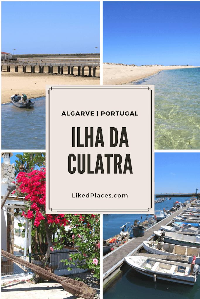 PIN Ilha da Culatra, quatro fotos da localidade da Culatra, casa típica, porto de abrigo, praia e barco
