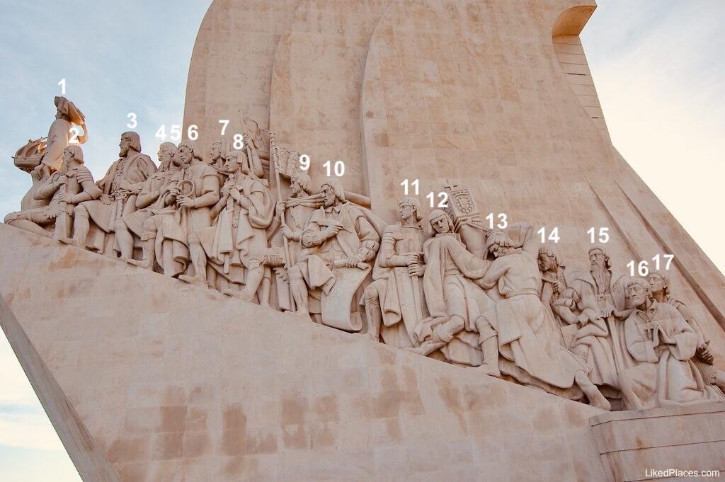 Estátuas lado nascente do Padrão dos Descobrimentos, Lisboa