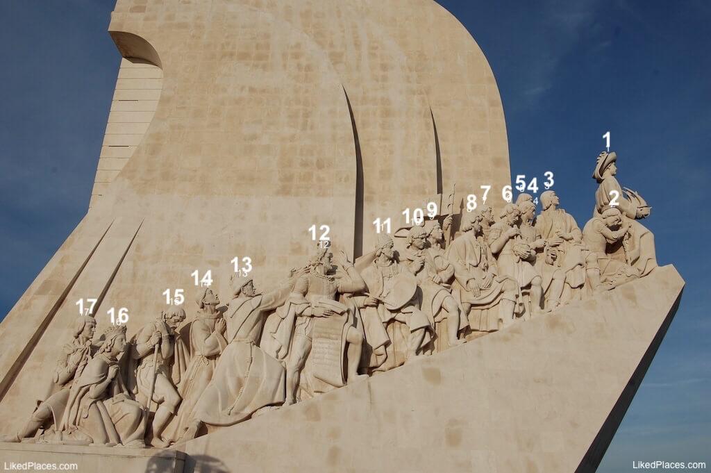 Estátuas lado poente do Padrão dos Descobrimentos, Lisboa