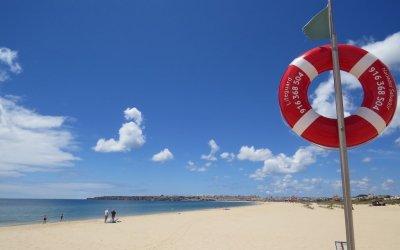 Algarve Vista da praia da Meia Praia em Lagos